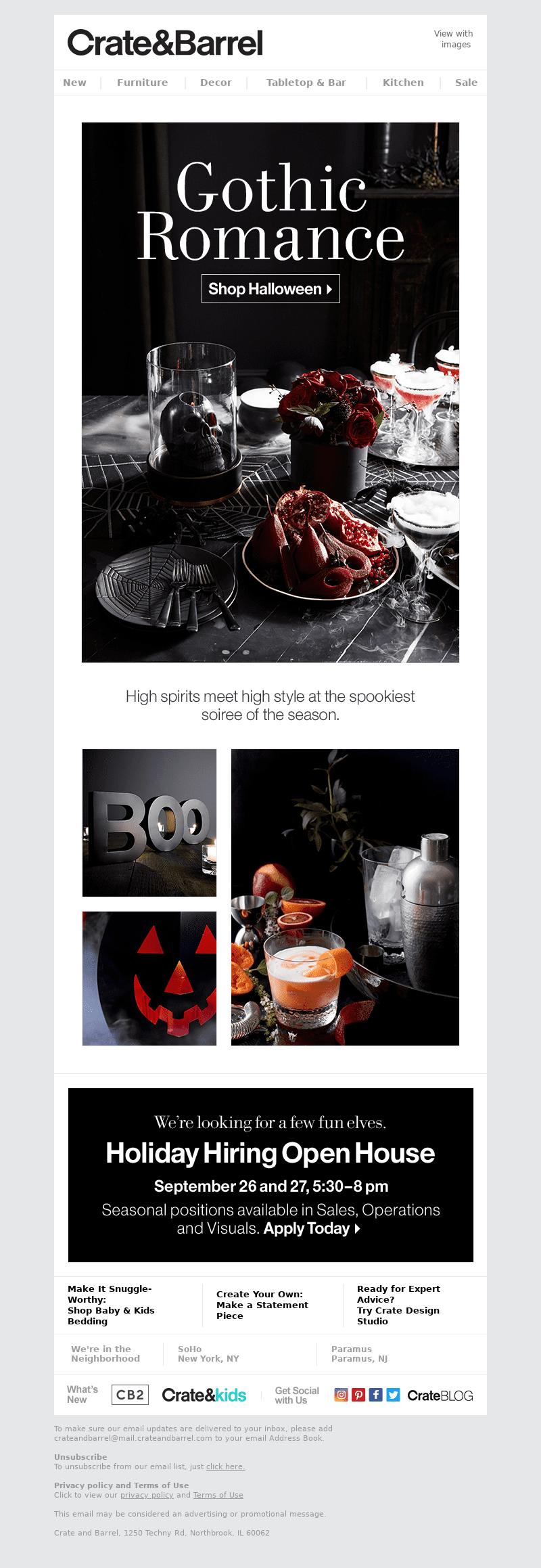 Crate & Barrel Halloween Email