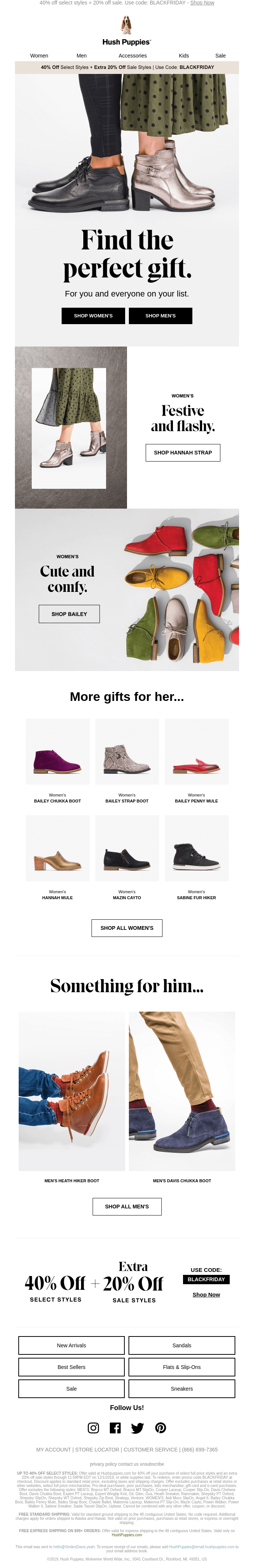 Hush Puppies Black Friday email