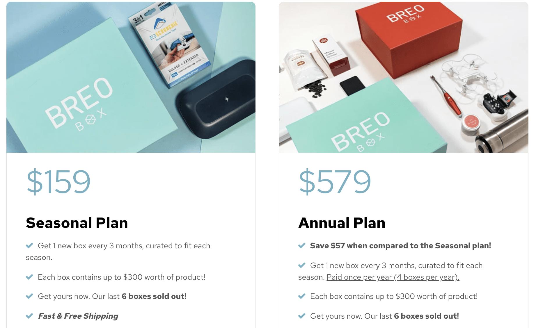 Breo Box subscription plans