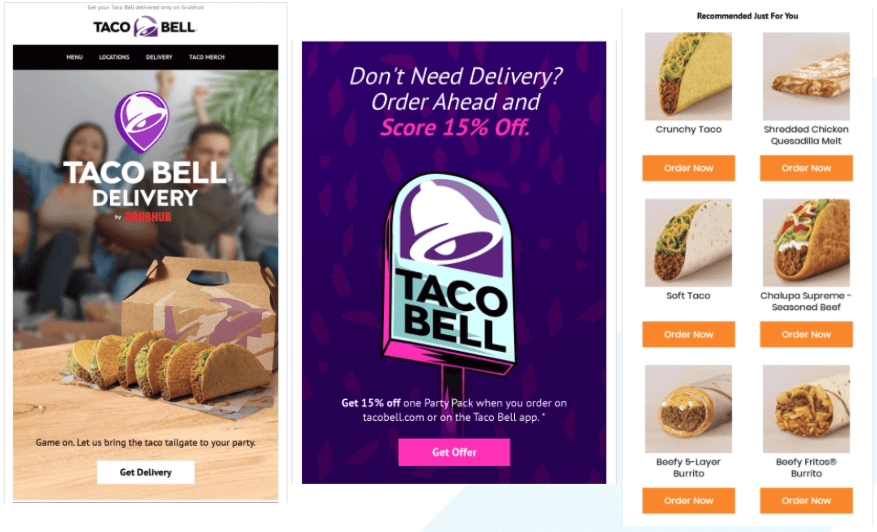 Taco Bell's email offering delivery and takeout
