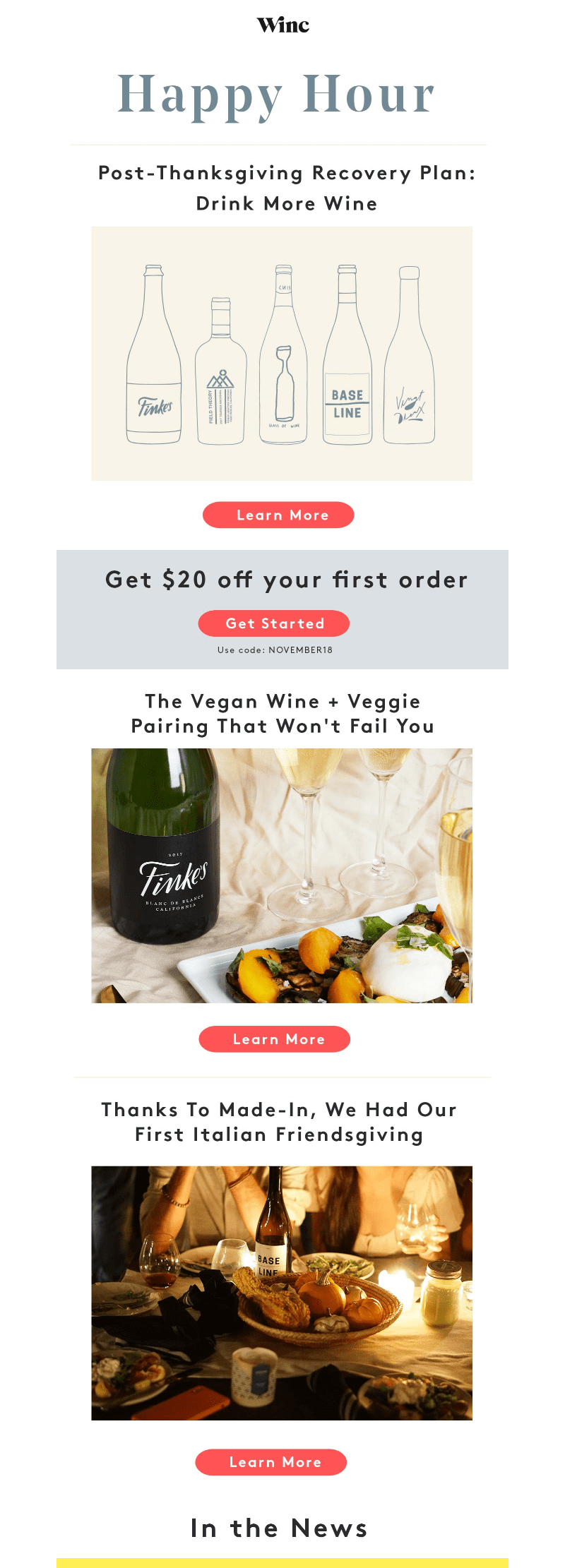 Winc Thanksgiving Email