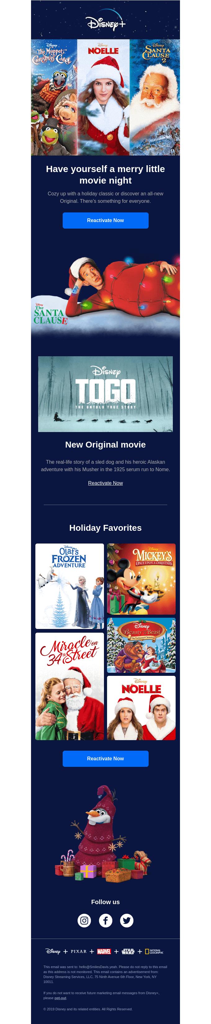 Celebration Scarcity: Disney+ Reactivation Holiday Email