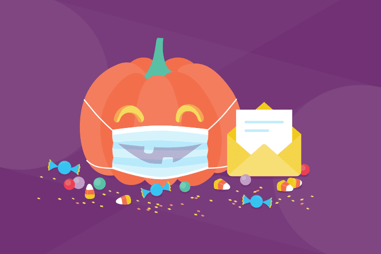 Illustration of jack o'lantern wearing a mask for Halloween email campaigns