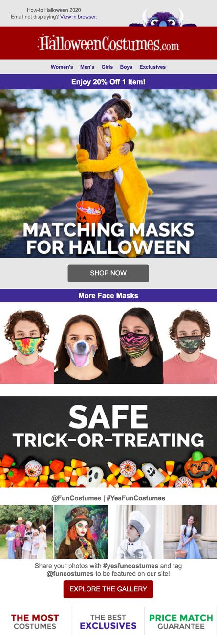 HalloweenCostumes.com 2020 email campaign
