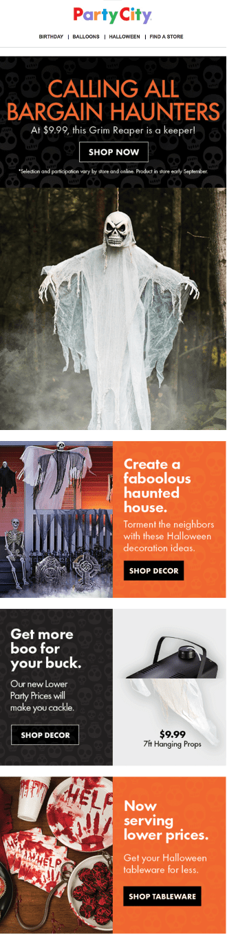 Party City Halloween email for bargain haunters