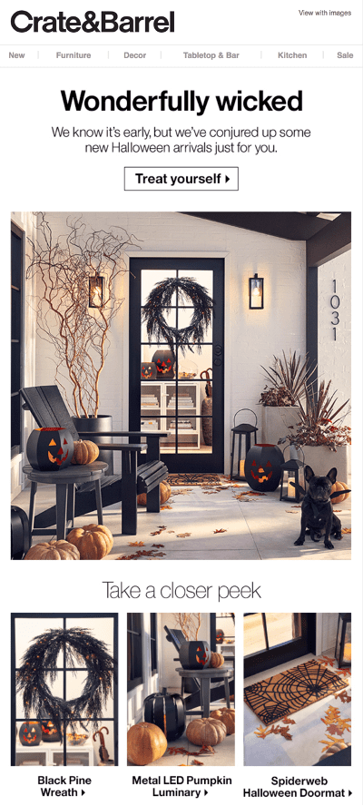 Crate & Barrel Halloween email in August