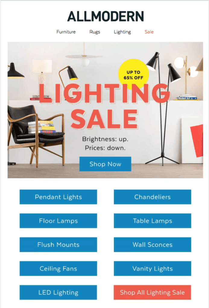 Promotional Campaign Categories: AllModern email