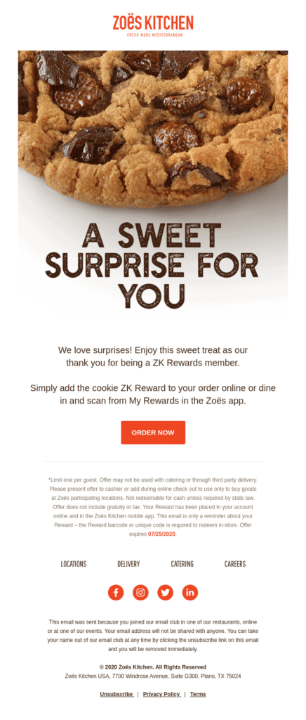 Connecting with customers: A sweet surprise from Zoe's Kitchen