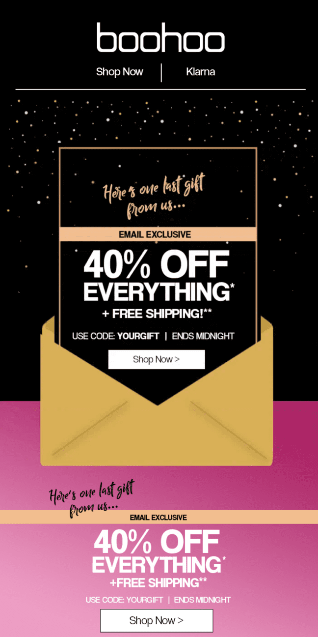 boohoo UK 40% off everything sale
