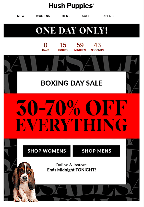 Hush Puppies Boxing Day Sale