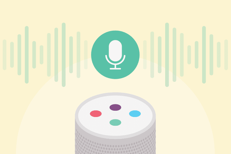 Illustration of smart speaker and voice technology