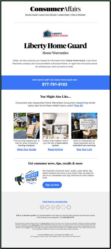 ConsumerAffairs Confirmation Email