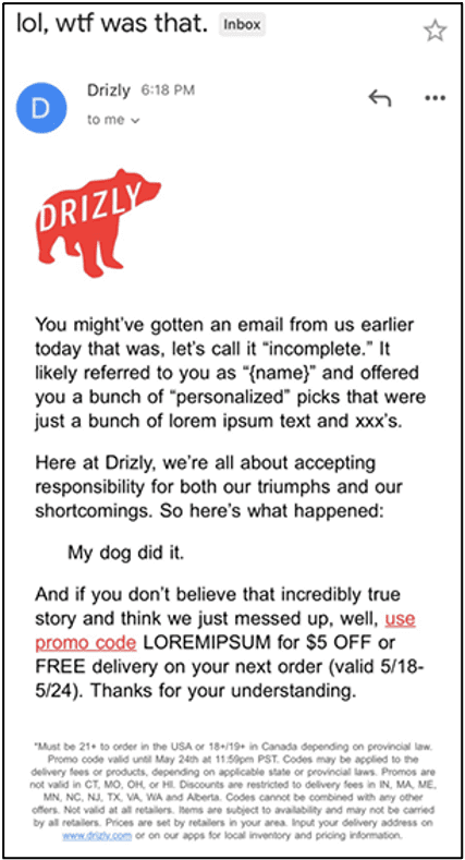 Best Marketing Campaigns of 2020 - Drizly Apology Email