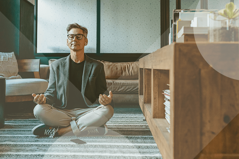 Health and wellness image - Stock photo of man meditating