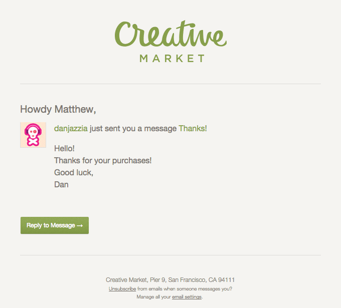 Creative Market email