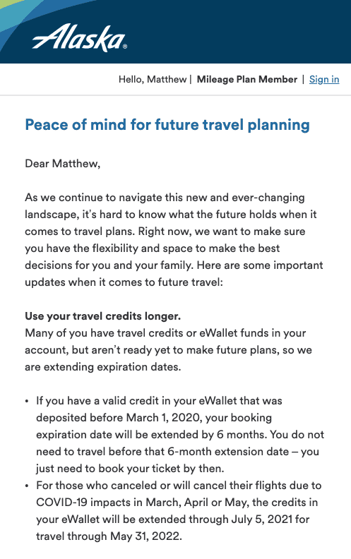 Alaska Airlines COVID-19 email