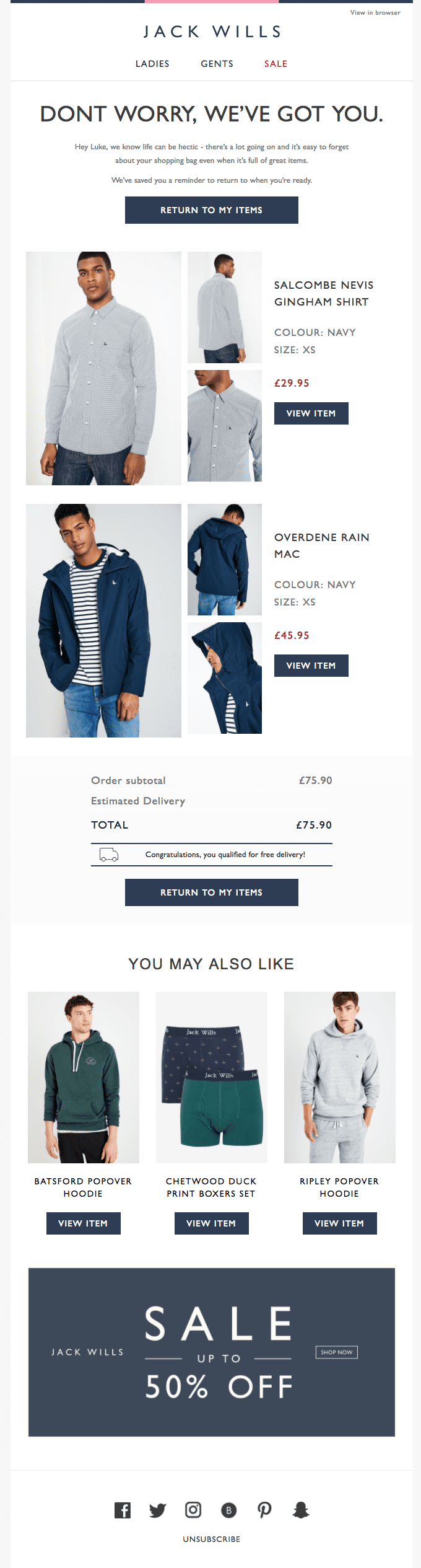 Jack Wills cart abandonment email campaign
