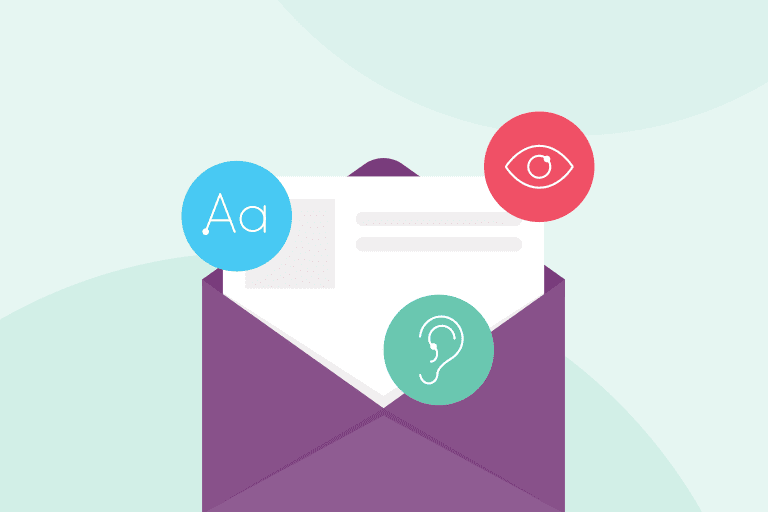 Email illustration and icons of eye, ear, and text to depict email accessibility