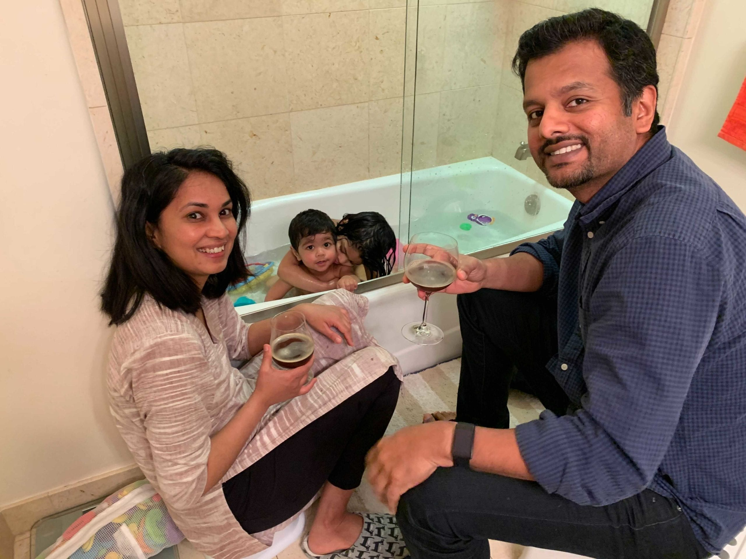 Krisha Reddy and family during bath time