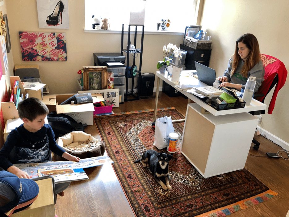 Sanam Saaber working from home with her kids