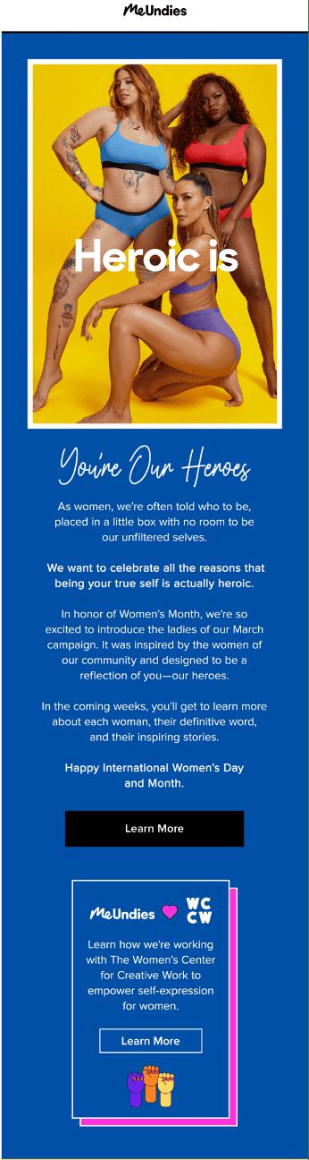 MeUndies - International Women's Day Email