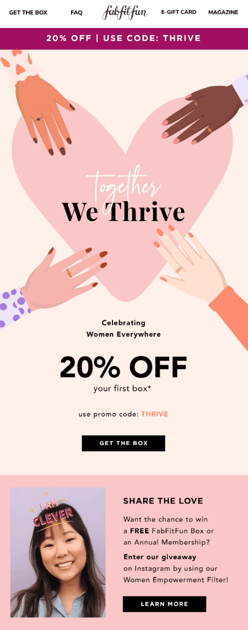 FabFitFun - Together We Thrive email during Women's History Month