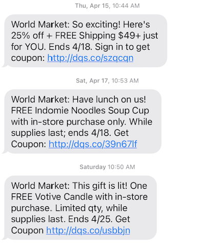 Cost Plus World Market SMS Marketing