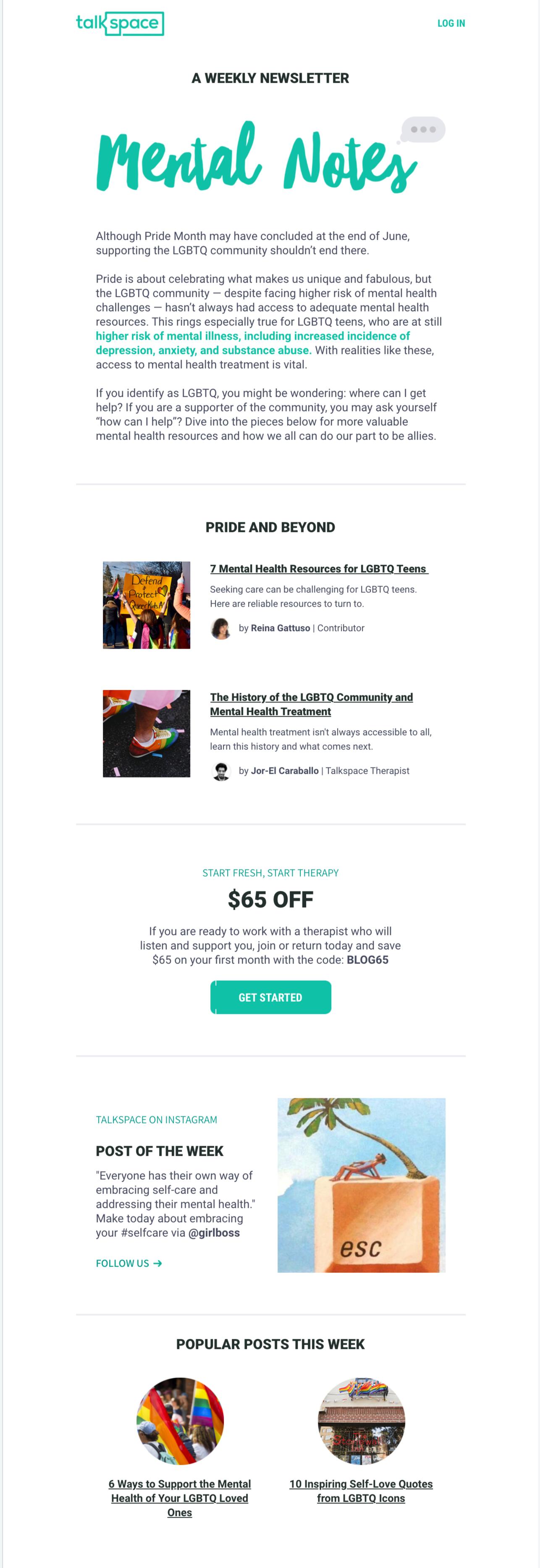 Talkspace Pride Month Email