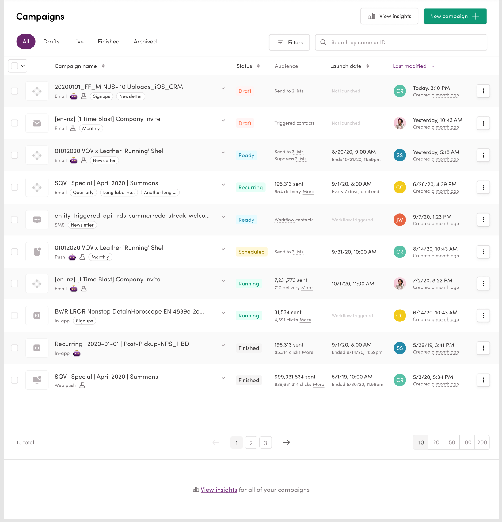 Campaigns Page