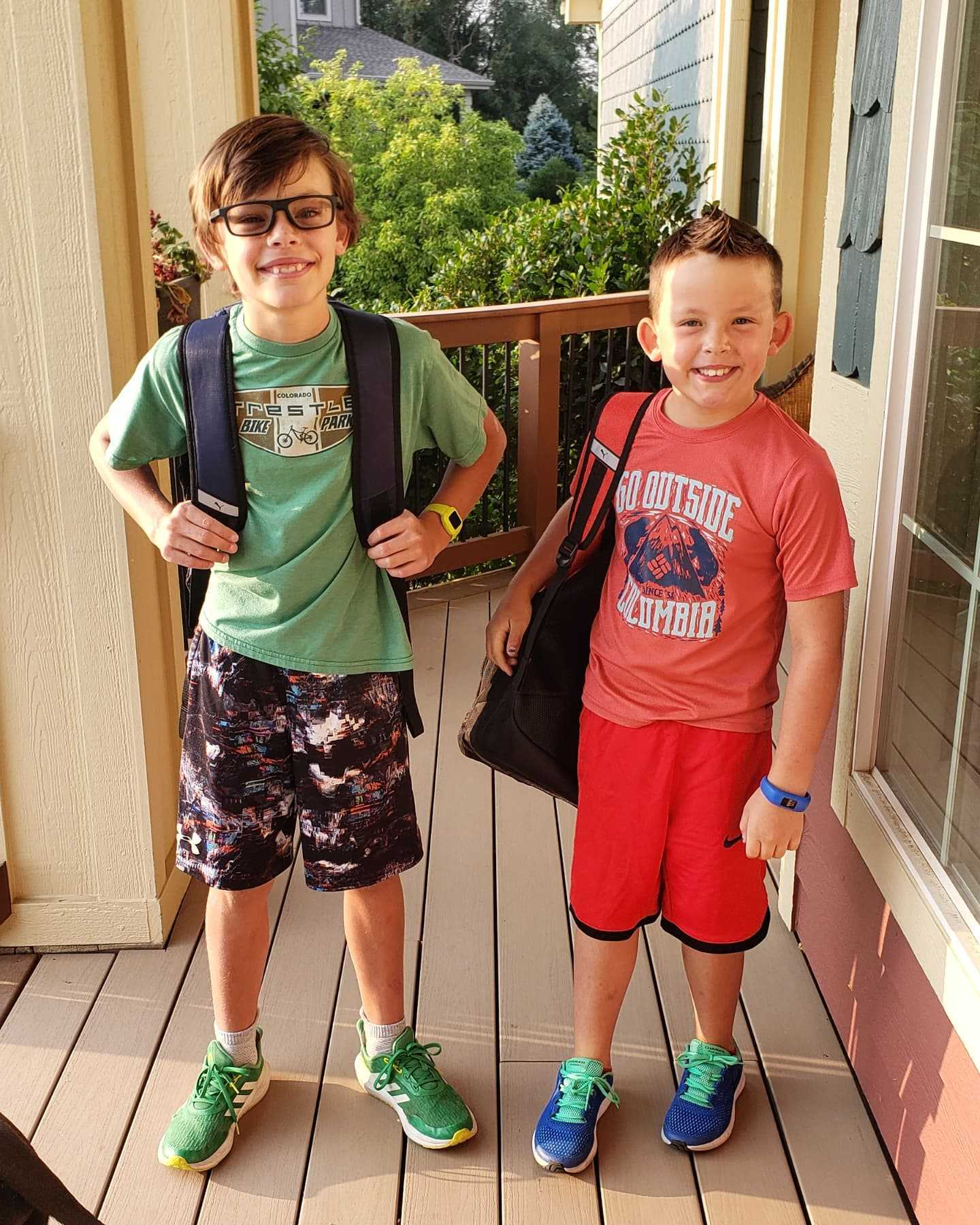 Heather's sons ready for school